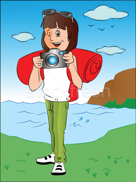 Vector of happy teenage girl with camera in front of river. Stock photo © Morphart