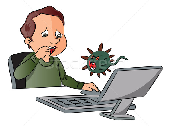 Vecteur homme peur regarder virus informatique virus Photo stock © Morphart
