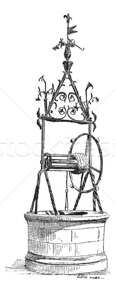 Well Renaissance, Iron Forge, in Toulouse, France, vintage engra Stock photo © Morphart