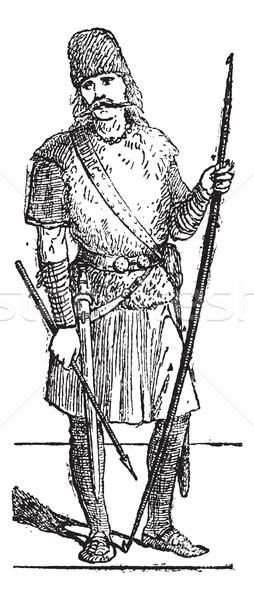 Slavic person vintage engraving Stock photo © Morphart