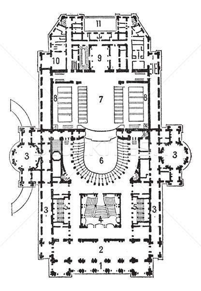 Plan of theater of opera, Paris, vintage engraving. Stock photo © Morphart