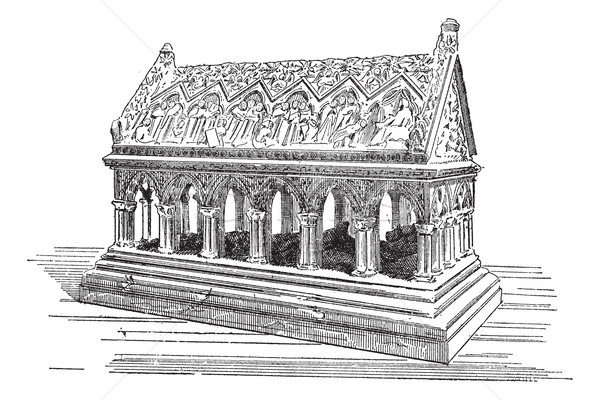 Tomb of Saint Etienne in Aubazine, vintage engraving. Stock photo © Morphart