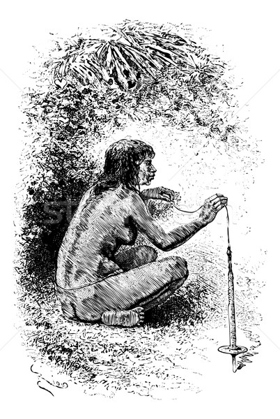 Native Woman Spinning a Top in Oiapoque, Brazil, vintage engravi Stock photo © Morphart