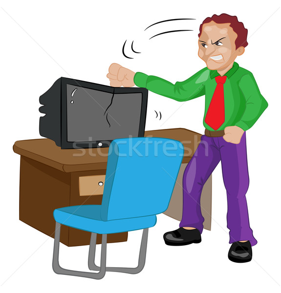 Angry Man Pounding on a TV, illustration Stock photo © Morphart