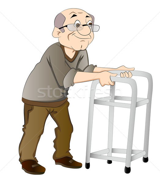 Stock photo: Old Man Using a Walker, illustration