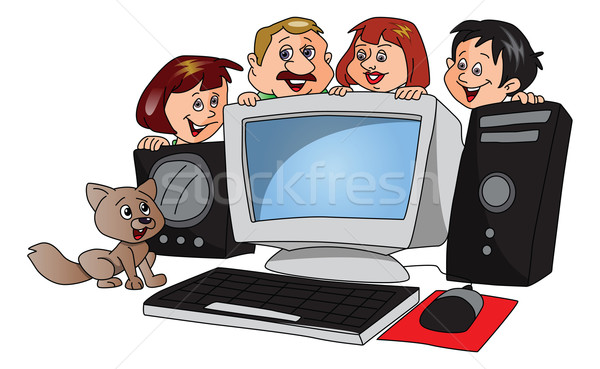Vector of happy family with a newly purchased computer. Stock photo © Morphart