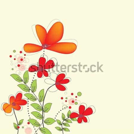 Jahrgang Einladungskarte eleganten Retro abstrakten floral Stock foto © Morphart