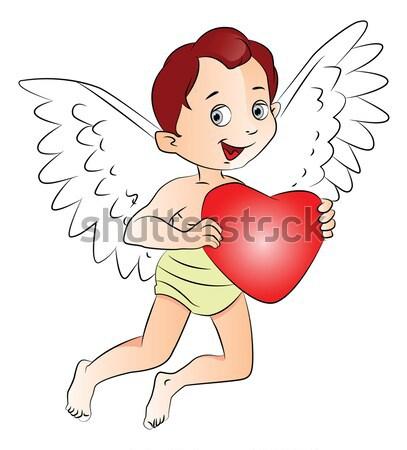 ストックフォト: ベクトル · 妖精 · 少年 · 心臓の形態 · シンボル · 弓