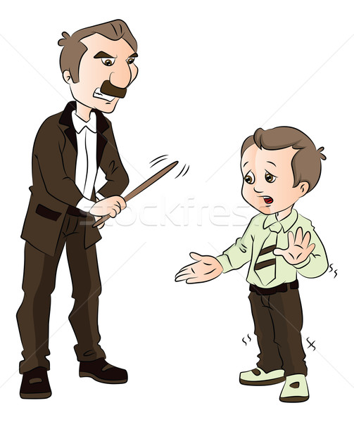 Vector of boy being beaten up by his teacher. Stock photo © Morphart