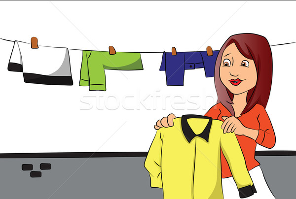 Vector of woman hanging clothes on clothesline. Stock photo © Morphart