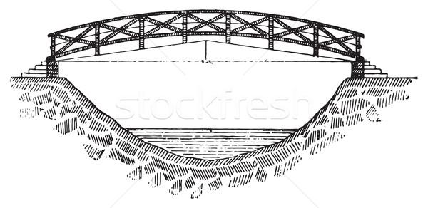 пешеходный мост Vintage иллюстрация словарь Сток-фото © Morphart