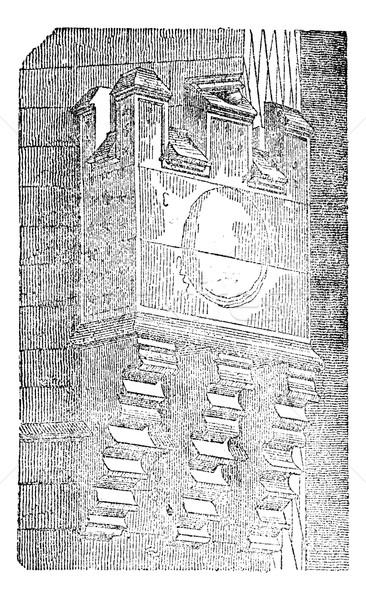 Machicolations of the Hotel de Sens, vintage engraving. Stock photo © Morphart
