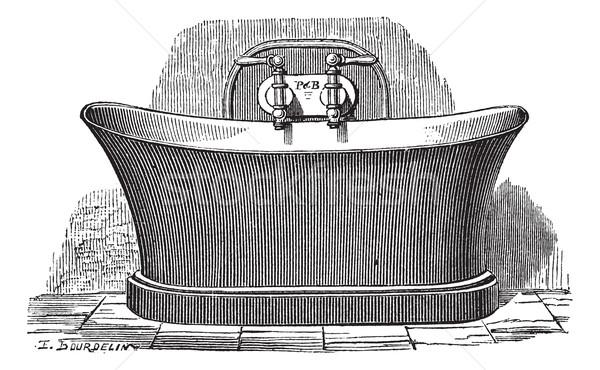 Réz fürdőkád klasszikus vésés öreg gravírozott Stock fotó © Morphart