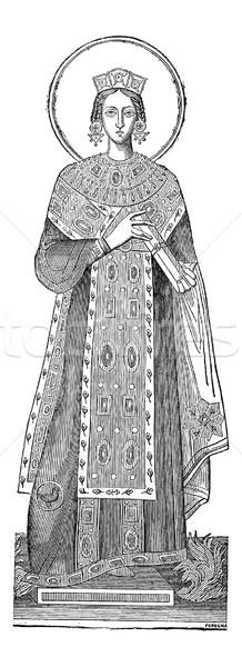 Statue of Saint Agnes, vintage engraving Stock photo © Morphart