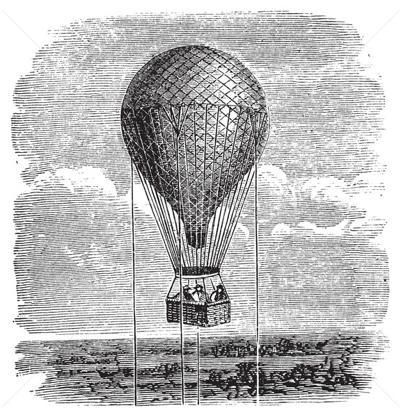 Old aerostat or hot air balloon vintage illustration. Stock photo © Morphart