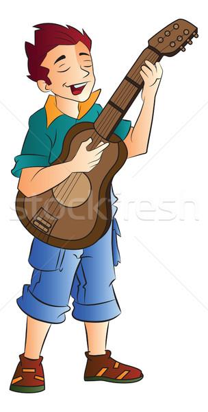 мужчины певицы гитарист иллюстрация молодые человека Сток-фото © Morphart