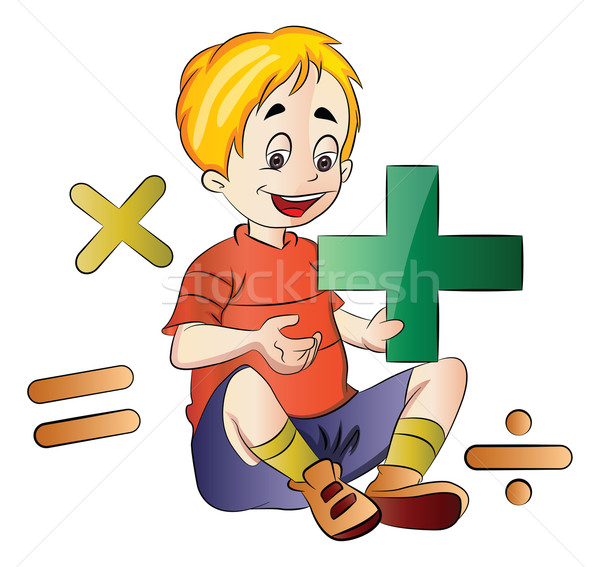 Boy Learning Math, illustration Stock photo © Morphart