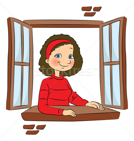 Vector of girl at window. Stock photo © Morphart