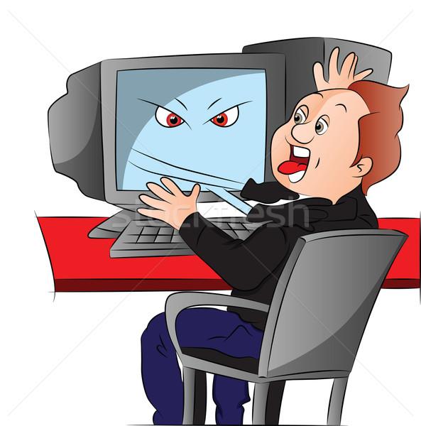 ストックフォト: ベクトル · 少年 · コンピュータ · 技術 · キーボード
