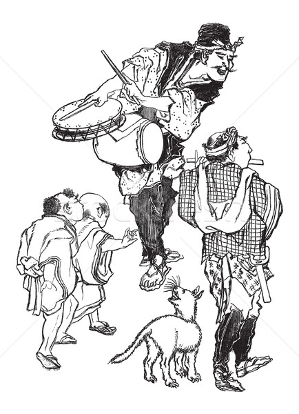 The Acrobats - Japanese Caricature, vintage engraving Stock photo © Morphart