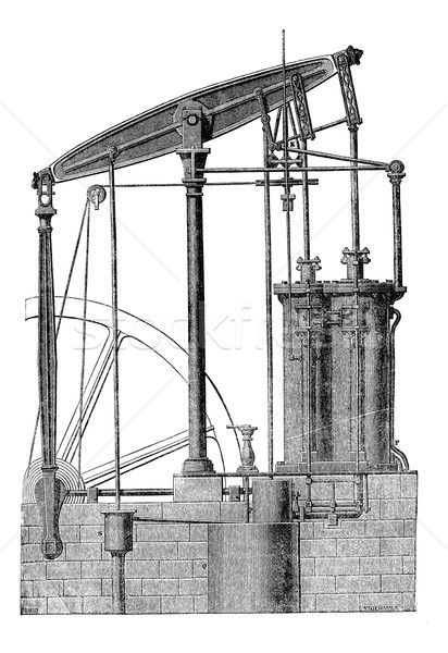 Stock photo: Two cylinder Steam machine, vintage engraving.