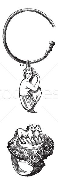 Antyczne egipcjanin biżuteria konia pierścień serca Zdjęcia stock © Morphart