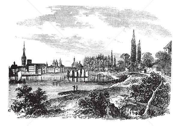 Dusseldorf in North Rhine-Westphalia, Germany, vintage engraving Stock photo © Morphart