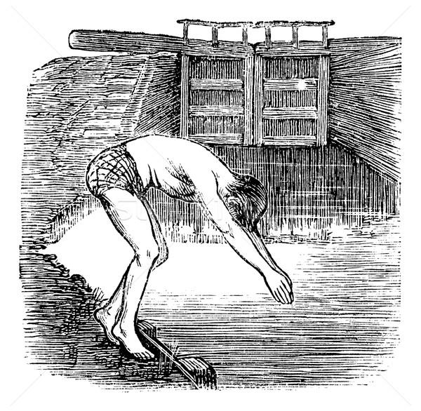 Position Before Diving, vintage engraved illustration Stock photo © Morphart