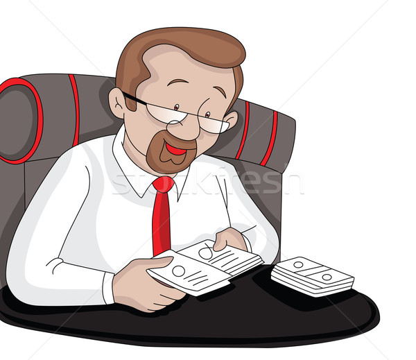 Vector of businessman removing cards from cover. Stock photo © Morphart