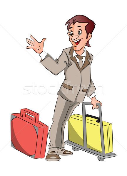 Vektor üzletember csomagok integet viszlát férfi Stock fotó © Morphart