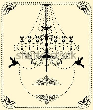 Klasszikus esküvői meghívó kártya díszes elegáns terv Stock fotó © Morphart
