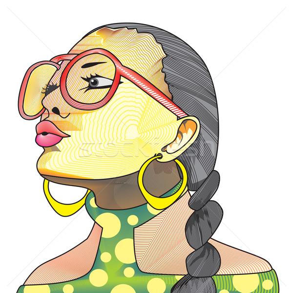 Kreatív arc illusztráció nő szemüveg lófarok Stock fotó © Morphart