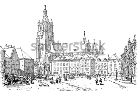 Ducal Palace, in Nevers, Burgundy, France, vintage engraving Stock photo © Morphart