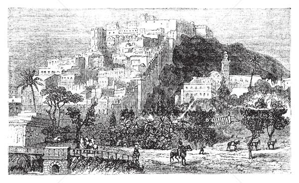 Algiers city vintage engraving. Capital of Algeria. Stock photo © Morphart