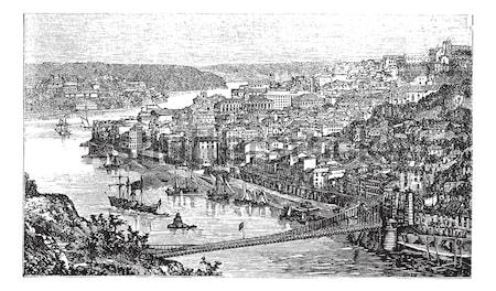 The castle of Brindisi vintage engraving. Stock photo © Morphart