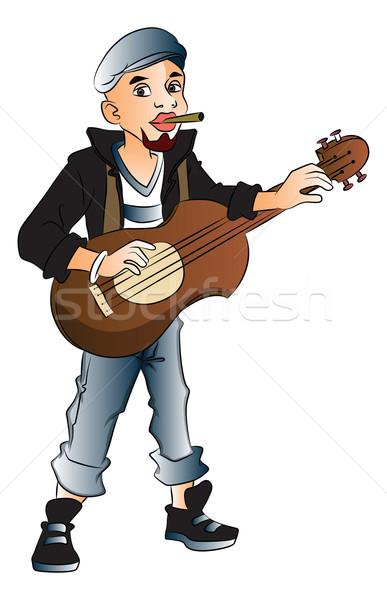 Vector of rockstar playing guitar and smoking cigarette. Stock photo © Morphart