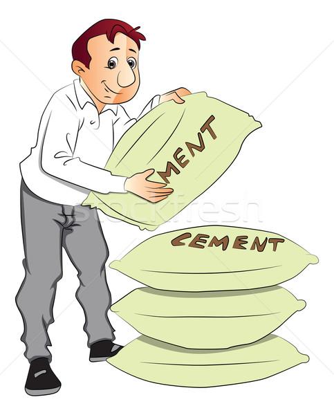 Vector of man holding cement sack. Stock photo © Morphart