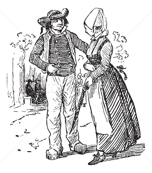 Peasants of Brittany, vintage engraving. Stock photo © Morphart