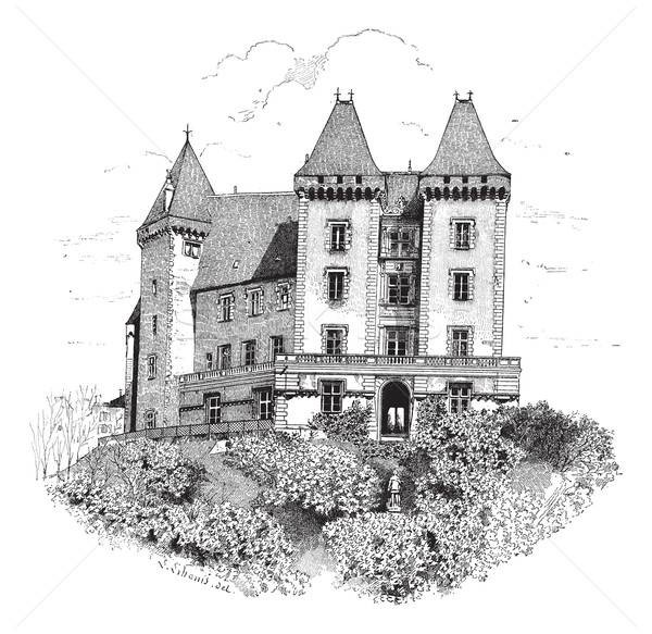 Chateau de Pau or Pau Castle in France vintage engraving Stock photo © Morphart