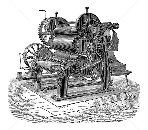 Paper Machine with Three Cylinders, vintage engraving Stock photo © Morphart