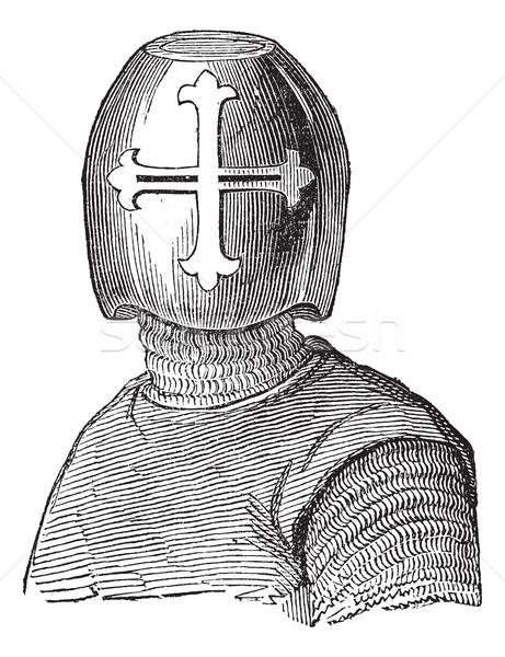Helm vintage oude gegraveerd illustratie Stockfoto © Morphart