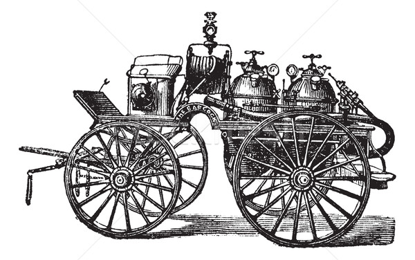 Horse-driven Fire Wagon, vintage engraved illustration Stock photo © Morphart
