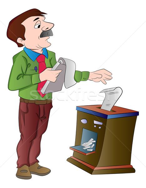 Man Shredding Documents, illustration Stock photo © Morphart