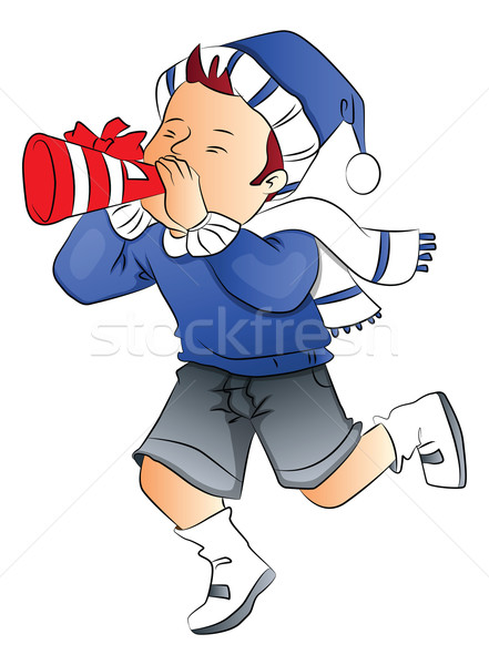 Vektor fiú fúj buli duda fúvó Stock fotó © Morphart
