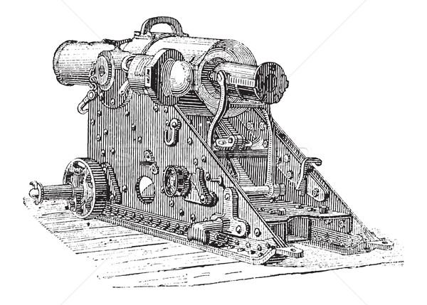 Howitzer Cannon, vintage engraving Stock photo © Morphart