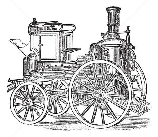 Steam Fire Engine, vintage engraving Stock photo © Morphart