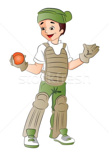 Vector of baseball keeper with ball. Stock photo © Morphart