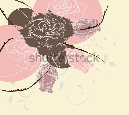 Vintage invitation card with elegant abstract floral design Stock photo © Morphart