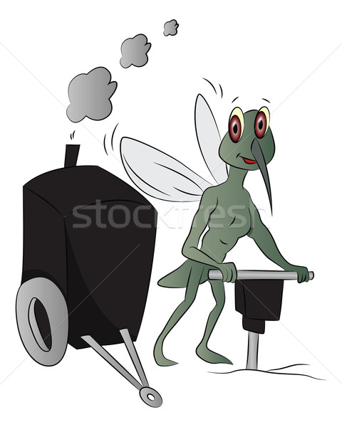 Vector of house-fly with power jackhammer. Stock photo © Morphart