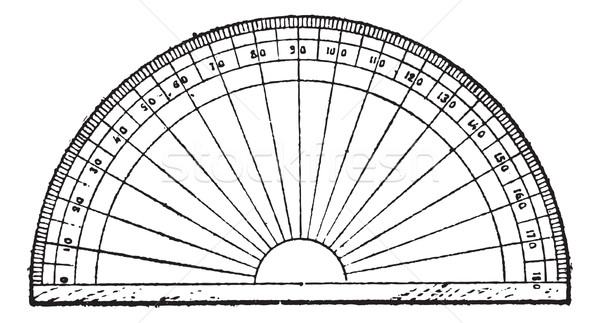Protractor isolated on white, vintage engraving. Stock photo © Morphart